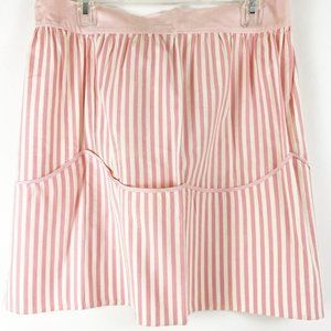 Pink Striped 1950s Waist Apron Lots of Pockets!